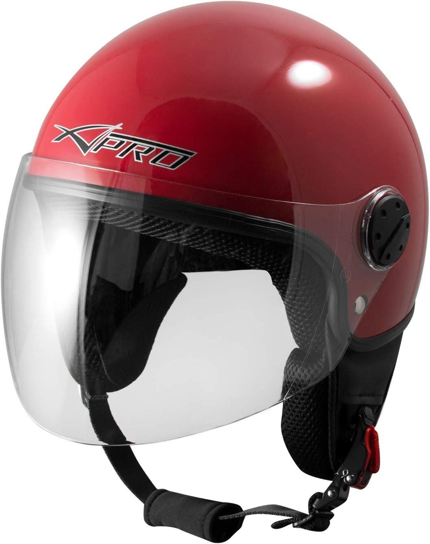 Open Face Jet Helmet Moped Motorbike Scooter Antiscratch Visor Red S