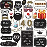 40th Birthday Photo Booth Props with Strike a Pose Sign - 31 Printed Pieces with Wooden Sticks