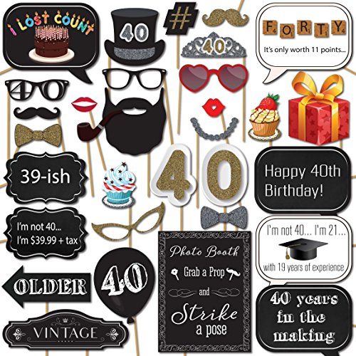 40th Birthday Photo Booth Props with Strike a Pose Sign - 31 Printed Pieces with Wooden -