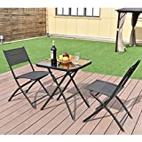 All4you Patio Bistro Table Set With Chairs Folding Outdoor Seater Coffee Table Set Black Backyard Balcony Furniture