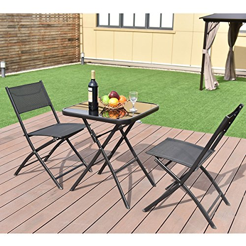 All4you Patio Bistro Table Set With Chairs Folding Outdoor Seater Coffee Table Set Black Backyard Balcony Furniture by All4you