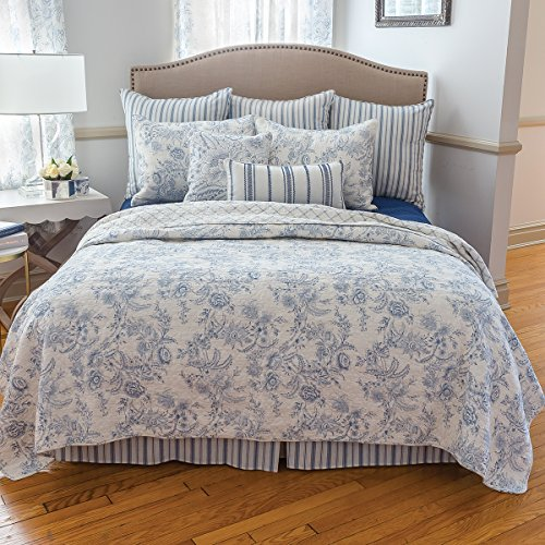 Clementina Dusk Toile Quilt King (Blue Toile Quilt)