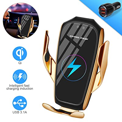 Smart Sensor Wireless Car Charger Mount, Automatic Clamping QC/QI 10W Fast Charging Car Charger Holder Compatible with iPhone 11/Xs/Xs Max/XR/X /8,Samsung Galaxy Note 9/ S9/ S9+/ S8 etc(C-Gold): Electronics