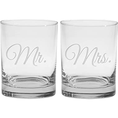 Culver 2-Piece Etched Mr. and Mrs. Double Old Fashioned Glasses Set, 14-Ounce