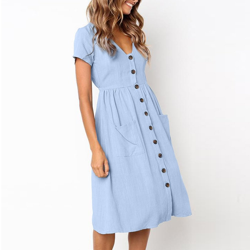 TOTOD Dress for Women Fashion Solid Short Sleeve Buttons V-Neck Dress Summer Holiday Beach Sundress Light Blue by TOTOD (Image #3)