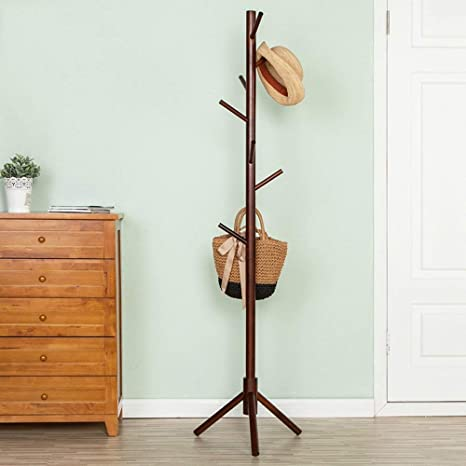 Amazon.com: PLLP Coat Racks Clothes Stand Rubber Solid Wood ...