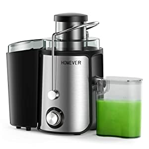 Homever juicer for Fruits and Vegetables, Centrifugal Juicer with Juice cup, 65mm Wide Mouth High Speed Juicer, BPA-Free Stainless Steel Dual Speed Juicer, Anti-drip Function