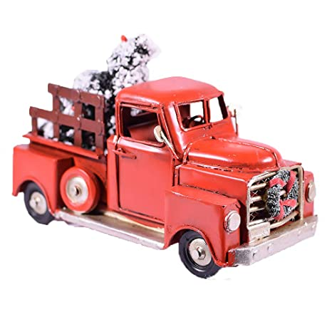 Vintage Red Truck Christmas Decor.Amazon Com Red Metal Rustic Pickup Truck With Xmas Tree