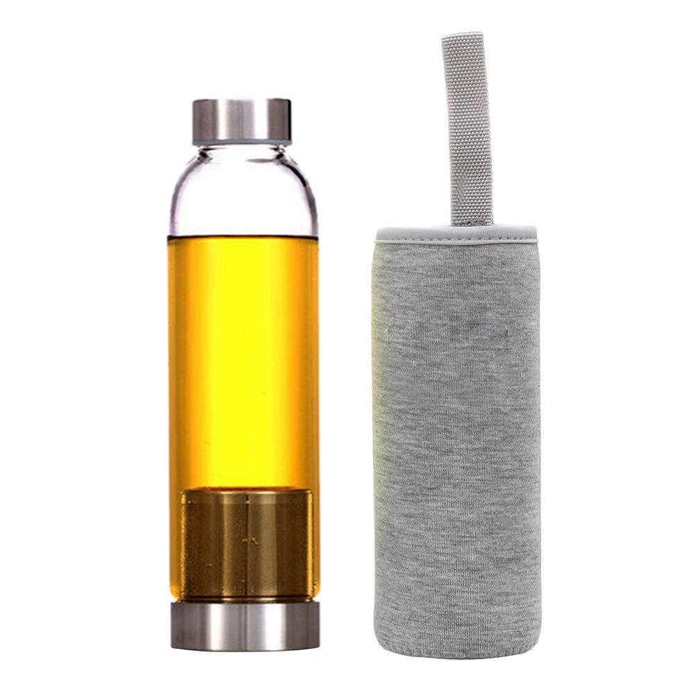 BESTONZON Botella de Agua de Vidrio Simple con Bolsa de ...