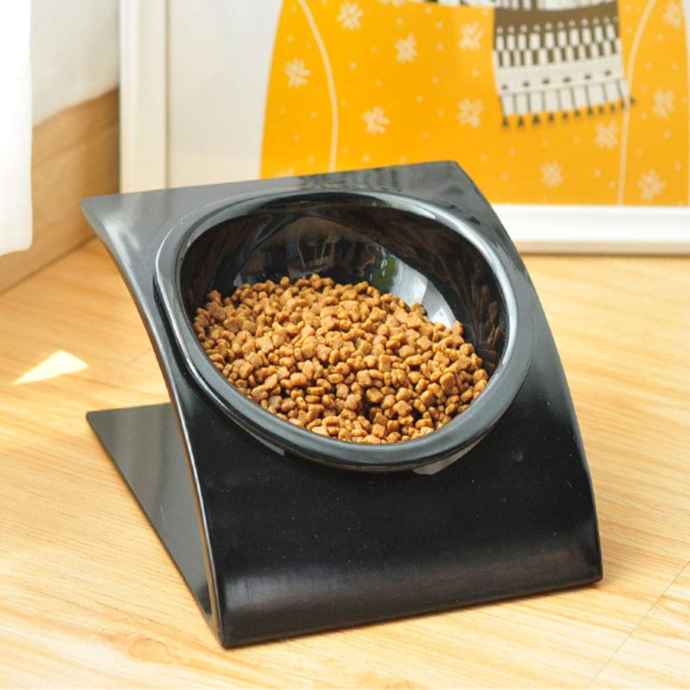 Black Pet Bowl,Cat and Dog Melamine Feeding Bowl, Suitable for Cat Puppies to Feed Water, Tilt Single Bowl Very Good (color   Black)