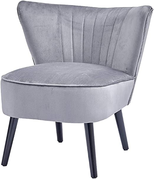 BOJU Accent Living Room Wingback Chairs for Bedroom Occasional Grey Velvet Upholstered Chairs for Office Reception Waiting Area Chairs (Silver Grey,