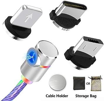 Kyerivs Cable Magnético de Carga Rápida Cargador USB Tipo C con Luz Led Brillante 3 en 1 Cable del Cargador para Dispositivos de Teléfono/i-Products ...