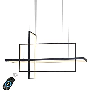 Unitary Brand Modern Black Acrylic Remote Control Nature White and Warm White Dimmable LED Geometric Modeling Design Pendant Lighting Max 90W Painted Finish