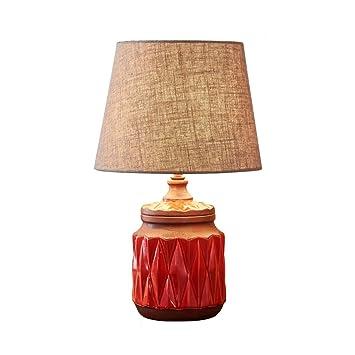 Céramique Rouge Européenne Style Américain Petite Cq Lampe Chambre Iyv76bfgYm