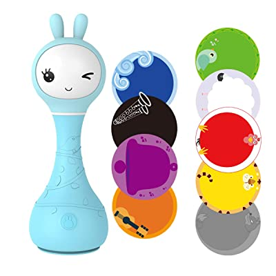 alilo Smarty Bunny Shake & Tell Musical Toy Rattle for Infants and Babies Newborn Games Soother with Lullaby Song Story Music Player (Blue): Toys & Games