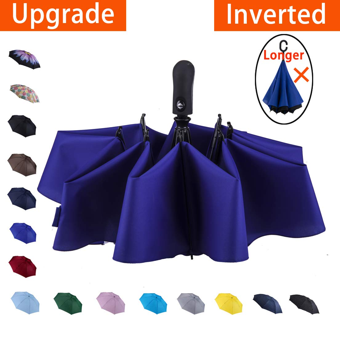 NOOFORMER Automatic Inverted Folding Umbrella - Compact Lightweight Windproof Travel Reverse Car Umbrellas for Men Women Multiple Colors