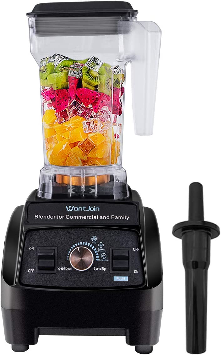 WantJoin Professional blender Commercial Blender - 60 Oz Countertop Blender for ice smoothie ice crushing blender for kitchen (BLACK)