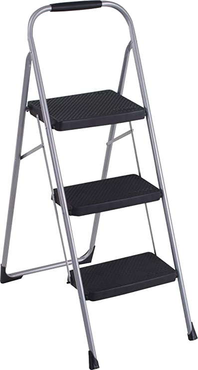 3 Step Ladder Folding Step Stool Steel Ladder with Handle Anti-Slip Solid Pedal Folding Steel Frame Stool with Hand Grip Household for Office Home Vividen Ladder Ball White