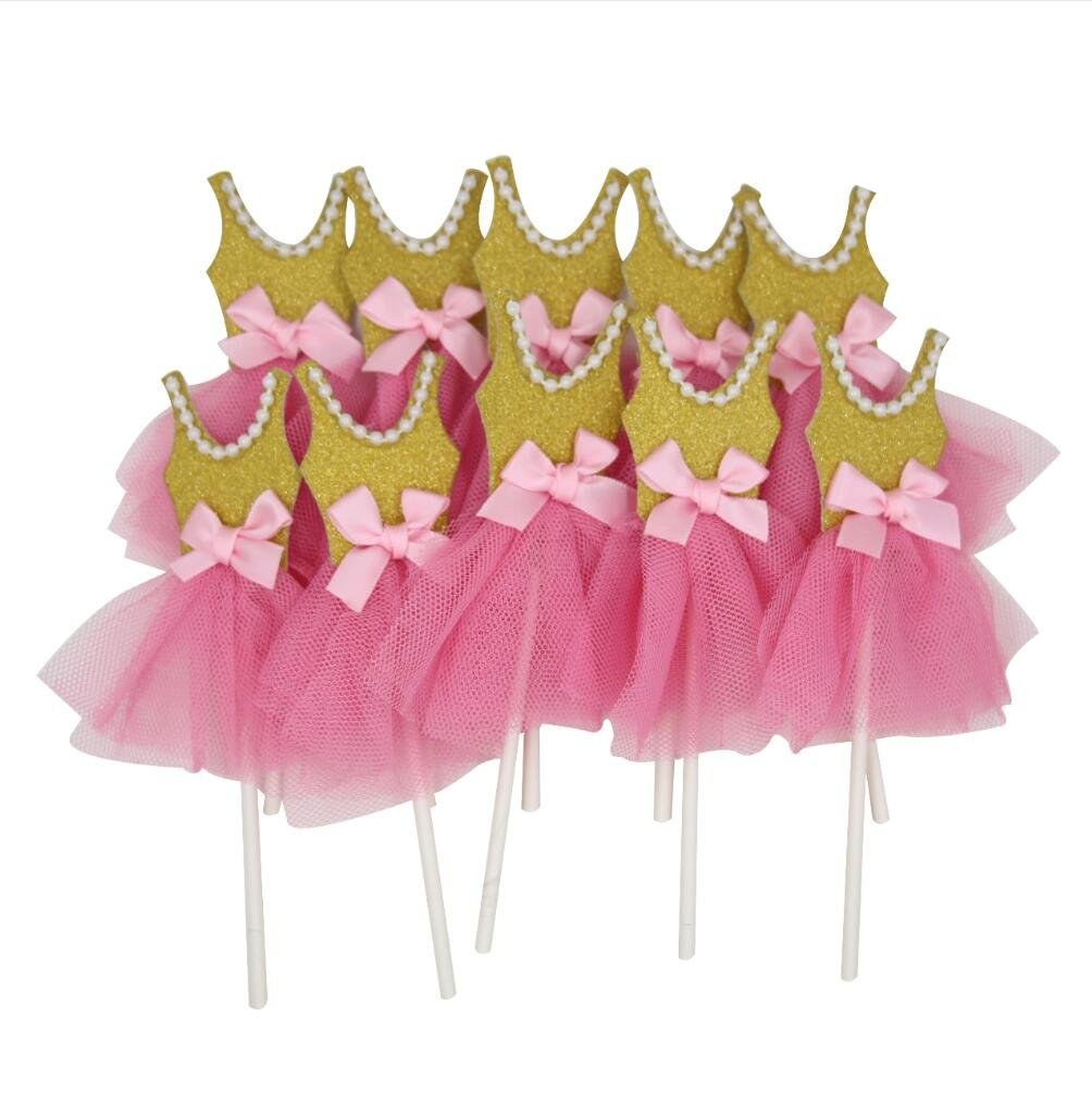 Mybbshower Pink Gold Ballerina Tutus Cake Topper for Girls Princess Birthday Decorations Pack of 10