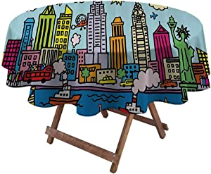 "Waterproof Tablecloth Playroom Decor Fourth of July Tablecloth New York City in Cartoon Style Colorful Childlike Drawing Kids Room Nursery 54"" Diameter Multicolor"