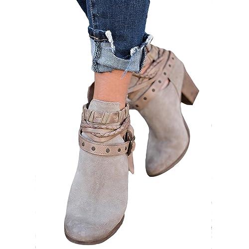 Mujer Cremallera Trasera Botines Talón Grueso Botines Cabeza Redonda Zapatos Mantener Caliente Resistente al Desgaste Antideslizante Botines Rojo Negro ...