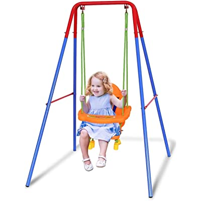 Toddler Swing Playset - A-Frame Metal Swing Play Set Toys,Indoor and Outdoor Playground Swing Seat, Safety Swing Chair for Kids Boys Girls (from US, Multicolour): Kitchen & Dining