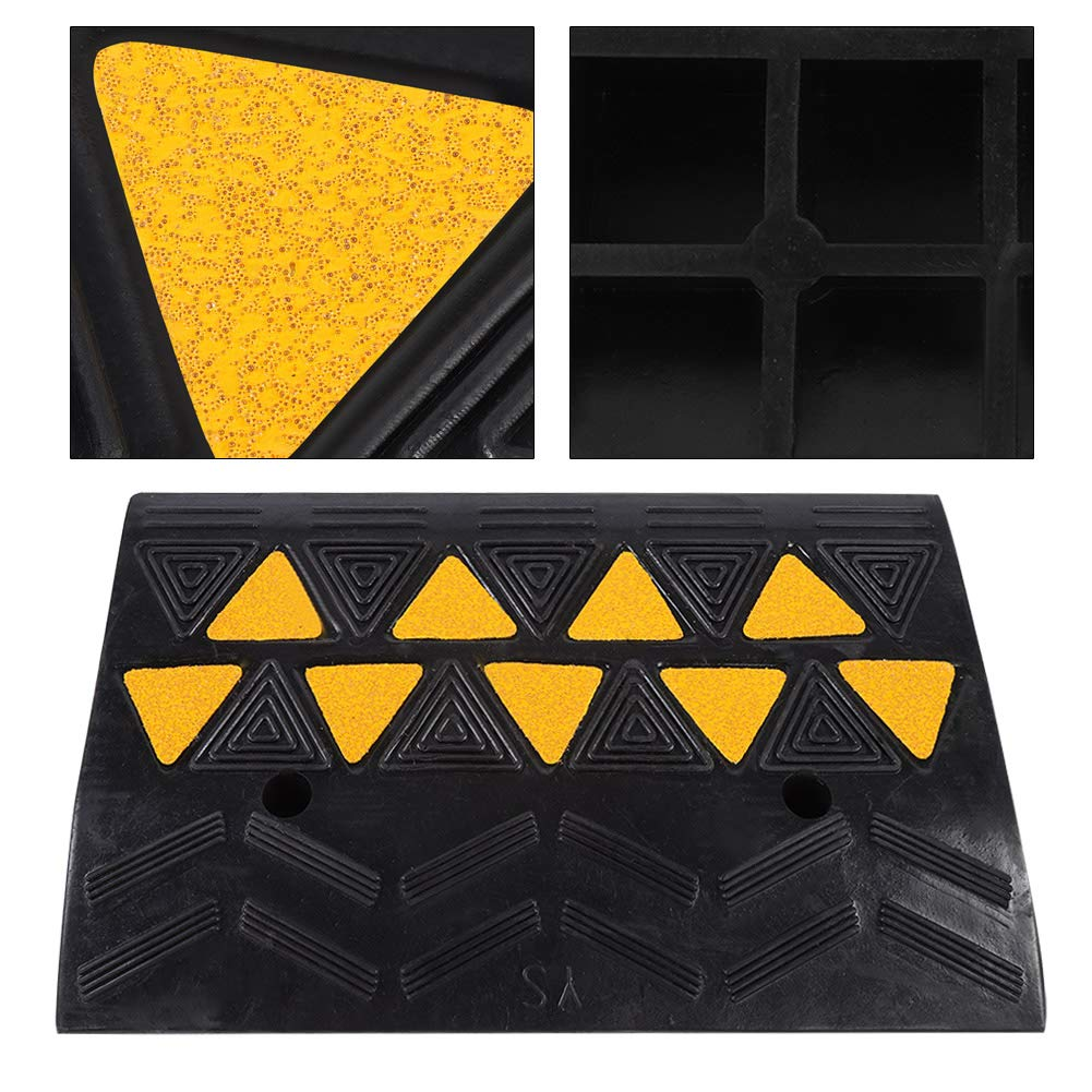 """19.21 x 4.25 x 11.81/"""" 2pcs Kerb Ramps Heavy Duty Curb Ramps Driveway Car Vehicle Wheelchair Threshold Ramp with Yellow Reflective Film Rubber Ramps"""