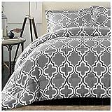 Superior Trellis Comforter Set with Pillow Shams, Luxurious & Soft Microfiber with Down Alternative Fill, Contemporary Geometric Trellis Design - Twin/Twin XL Bedding Set, Grey