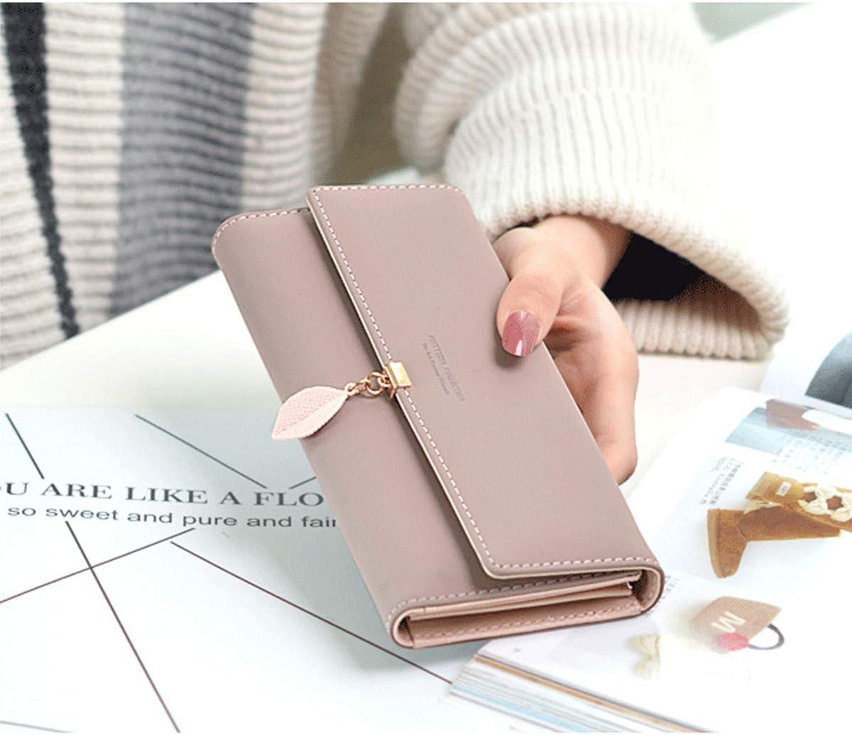 Womens Wallet for Black Wallet for Women PU Wallet Purse Leaf Pendant Cute Wallet Coin Purse Card Holder Girls RFID Blocking Wallets