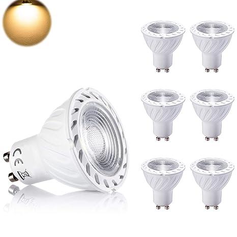 Yafido 7W GU10 Bombilla LED Luz calida 3000K 550LM Equivalente a 50 Watt Lámpara Incandescente Angulo de haz de 40° AC 85-265V No-regulable Paquete de ...
