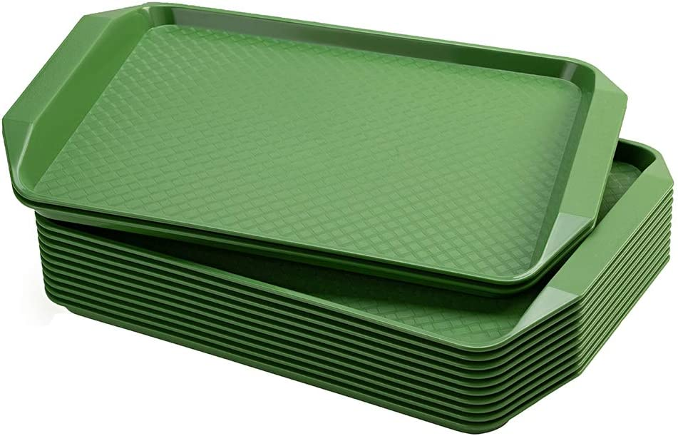 Eslite Plastic Fast Food Serving Tray,16.95 by 11.82-Inch,Set of 12 (Green)