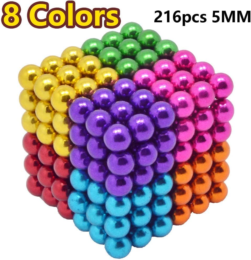 216 pcs 5mm Magnetic Building Block Toy Set for Intellectual Development 8 Colors and Decompression Toys for Adults.