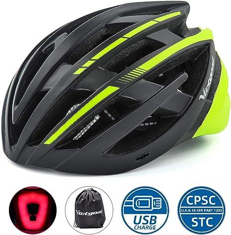 Victgoal Bicycle Helmet MTB Mountain Bike Helmet with Removable Visor LED Rear Light Adult Breathable Cycle Helmet for Men Women 57-61cm