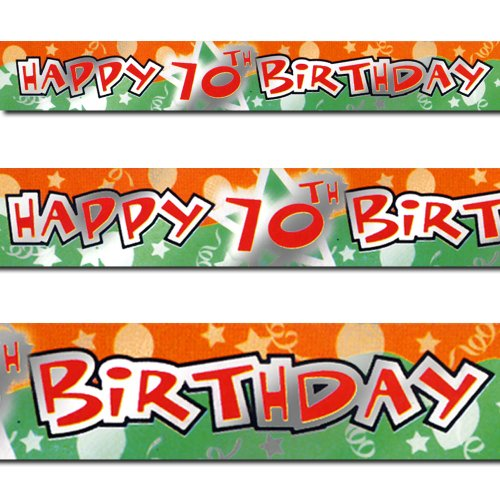 12ft Orange Green Happy 70th Birthday Party Foil Banner Deco