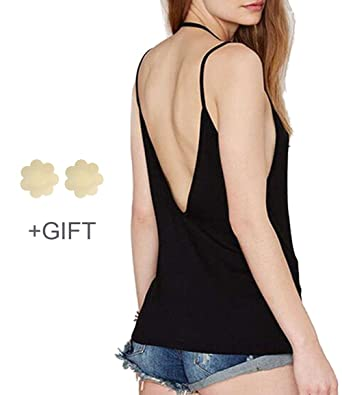 2779f33932443 Amazon.com  Backless Tank Tops for Women Strap Tank Top Sexy ...
