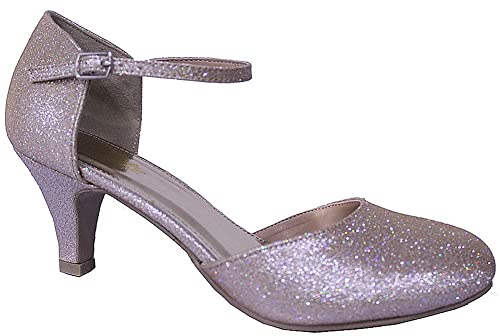 b67d3c0a01 Chic Feet Glitter Womens Party Evening Wedding Bridesmaid Prom Mary Jane Low  Heel Shoes: Amazon.co.uk: Shoes & Bags