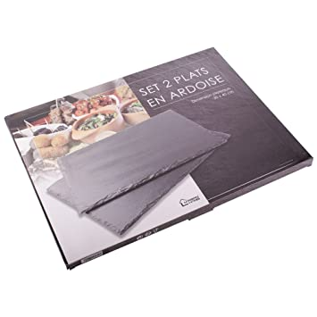 FORNOR Conjunto 2 Platos de Pizarra de 40 x 30 cm Ideal ...
