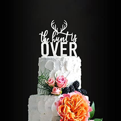 Glitter Silver The Hunt Is Over Romantic Wedding Cake Topper Elegant Cake Topper For Wedding Anniversary Wedding Party Decorative Cake Toppers Birthday Cake Topper Acrylic Cake Topper Amazon Com Grocery Gourmet Food