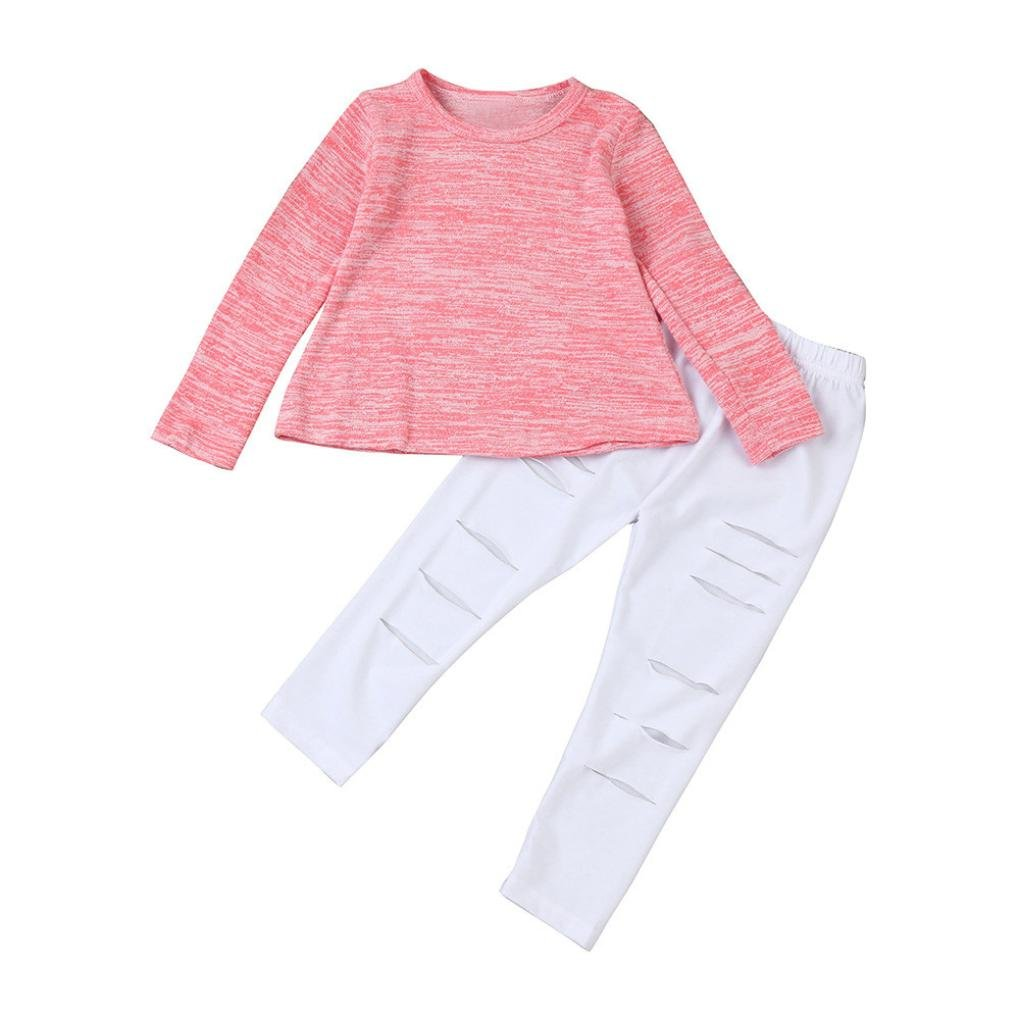 Girls Outfit Knitted, Keepfit Toddler Kids Long Sleeve T-shirt Tops+Long Pants 1Set for Children (2T-3T, Pink)