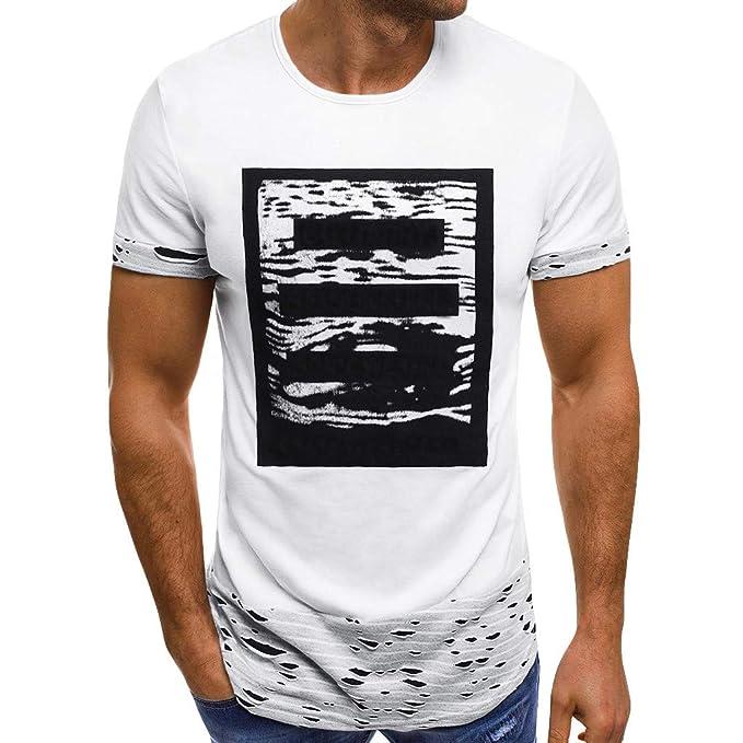 competitive price 3823b 375ec COOLIY Uomo Estiva Top Fori Strappare Magliette T-Shirt Uomo ...