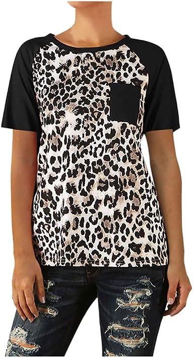 FELZ Blusas De Mujer Elegantes Chicas Camisa Casual Estampado De Leopardo Blusa con Bolsillo Manga Corta Blusas Sueltas Dama Camiseta Deportivo Hembra Jersey Blusa Casual Pullover Tops Camisa BáSica: Amazon.es: Ropa y