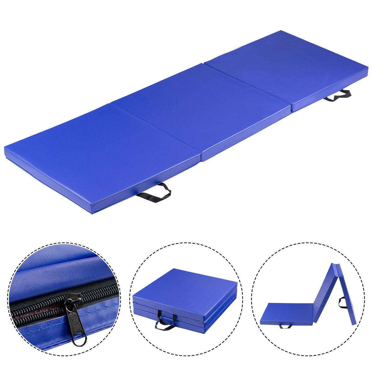 COSTWAY Blue Tri-Fold Gymnastics Mat 6'X2' Folding Fitness Exercise W/ Carrying Handles by COSTWAY