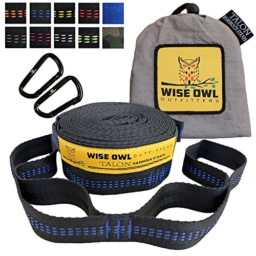 Wise Owl Outfitters Hammock Straps By Combined 20 Ft Long, 38 Loops W/ 2 Carabiners – Easily Adjustable, Tree Friendly Must Have Gear For Camping Hammocks Like Eno