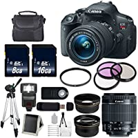 Canon EOS Rebel T5i 18 MP CMOS Digital SLR Camera w/EF-S 18-55mm f/3.5-5.6 Lens + 58mm 2x Telephoto Lens + 58mm Wide Angle + 58mm UV Filter (International Model no Warranty) Explained Review Image