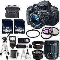 Canon EOS Rebel T5i 18 MP CMOS Digital SLR Camera w/EF-S 18-55mm f/3.5-5.6 Lens + 58mm 2x Telephoto Lens + 58mm Wide Angle + 58mm UV Filter (International Model no Warranty) Explained Review Image