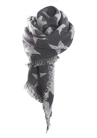fc84843605bb ... étoile Géant Foulard avec Frange foulards Automne Hiver Écharpe  Cachemire Multicolore Unisexe Chaude Femmes Foulard  Amazon.fr  Vêtements  et accessoires