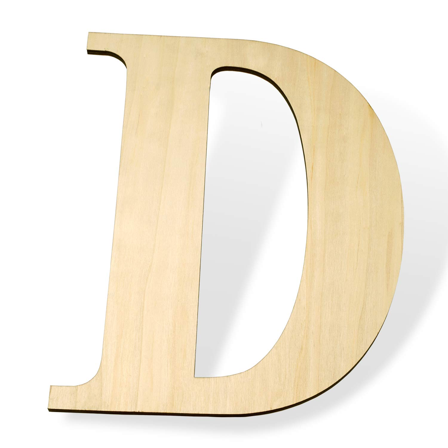 "12 inch Wooden Letters D - Blank Wood Board, Wood Letters for Walls Decor, Party, DIY Craft Projects (12"" - 1/4"" Thick, D)"