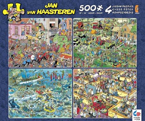Ceaco 4-in-1 Multi-Pack Jan Van Haasteren Crowd Pleasers Jigsaw - Cartoon Puzzles Jigsaw