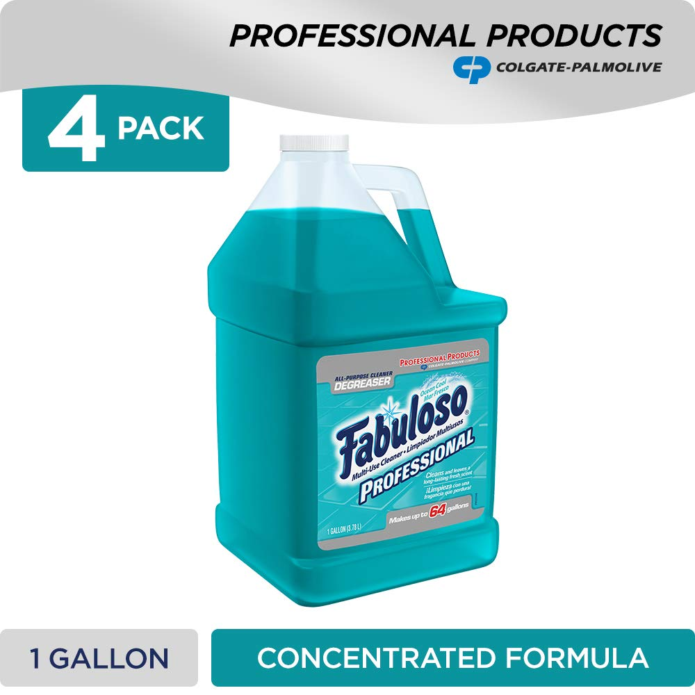 FABULOSO Professional All Purpose Cleaner & Degreaser, Ocean Cool, Concentrated Formula, Bathroom Cleaner, Toilet Cleaner, Floor Cleaner, Glass Cleaner, Washing Machine and Dishwasher Surface Cleaner, Mop Cleanser, Kitchen Pots and Pans Degreaser, 1 Gallo