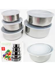 10 Pcs Steel Metal Food Storage Saver Containers Mixing Bowl Cookware Set New